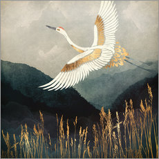 Gallery print  Elegant Flight of a Crane - SpaceFrog Designs