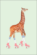Wall sticker  Rollerskating Giraffe - Jonas Loose