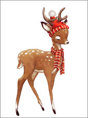 Wall sticker  Winter deer with scarf and hat - Eve Farb