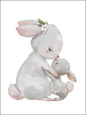 Gallery print  Cute white bunnies - mother with child - Eve Farb