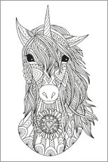 Colouring poster  Beautiful unicorn