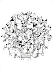 Colouring poster  Fox family