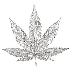 Colouring poster  Ganja leaf