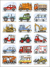 Wall sticker  All my cars - Hugos Illustrations