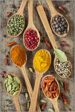 Wall sticker  Colorful spices in wooden spoons - Elena Schweitzer