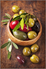 Gallery print  Bowl with olives on a wooden table - Elena Schweitzer