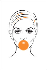 Premium poster Twiggy with bubble gum
