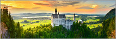 Premium poster Neuschwanstein in the sunset
