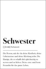 Premium poster Schwester Definition (German)