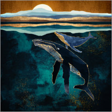 Canvas print  Moonlit Whales - SpaceFrog Designs