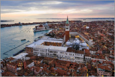 Premium poster Aerial view of St Mark's square at sunset, Venice