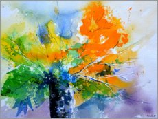 Wood print  Colorful, abstract bouquet - Pol Ledent
