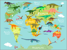 Wood print  Dinosaur Worldmap - Kidz Collection