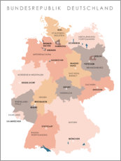 Canvas print  Federal states and capital cities of the federal republic of Germany