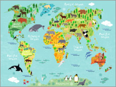Premium poster  Animal Worldmap - Kidz Collection