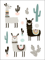 Canvas print  Llamas in the desert