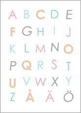 Premium poster Swedish alphabet colorful
