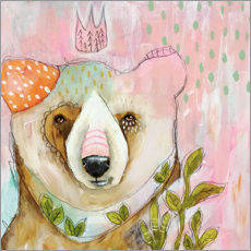 Wood print  Bear princess - Micki Wilde