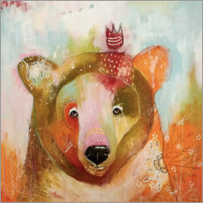 Wood print  Little bear king - Micki Wilde