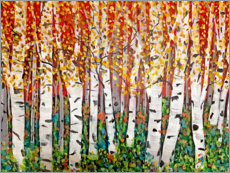 Premium poster Red Sky Over Birch Trees