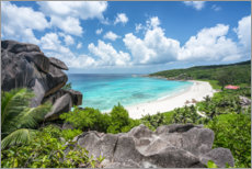 Premium poster Beach Grand Anse on La Digue