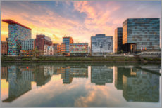 Canvas print  Dusseldorf reflection in the media harbor - Michael Valjak