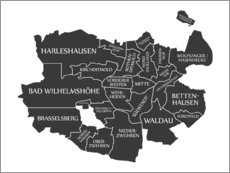 Wall sticker Modern city map of Kassel