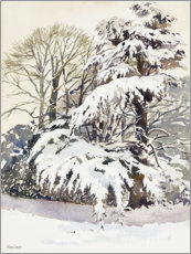Wood print  Winter in the garden - Mary Want