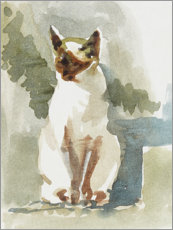 Wood print  Cat in the garden - Mary Want