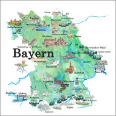 Acrylic print  Bavaria map with sights - M. Bleichner
