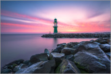 Canvas print  Westmole Warnemünde at sunrise - Robin Oelschlegel