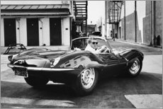 Canvas print  Steve McQueen in Jaguar - Celebrity Collection