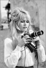 Aluminium print  Brigitte Bardot with camera - Celebrity Collection