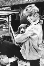 Canvas print  Brigitte Bardot with puppy - Celebrity Collection