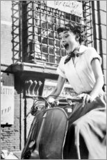 Canvas print  Audrey Hepburn on a Vespa - Celebrity Collection
