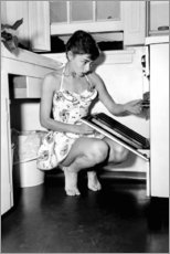 Canvas print  Audrey Hepburn at the stove - Celebrity Collection