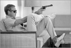 Foam board print  Steve McQueen with Revolver - Celebrity Collection