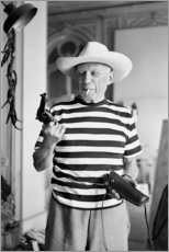 Aluminium print  Picasso with a revolver - Celebrity Collection