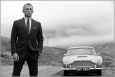 Foam board print  Daniel Craig as James Bond (black and white) - Celebrity Collection