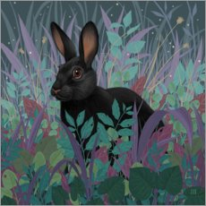 Acrylic print  Black rabbit in the grass - Vasilisa Romanenko