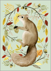 Aluminium print  Squirrel in the autumn - Grace Popp
