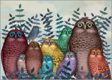 Acrylic print  10 colorful owls - Fab Funky