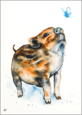Gallery print  Boar piglet and butterfly - Zaira Dzhaubaeva