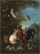 Premium poster  Domestic cock, hens, and chicks in a park - Pieter Casteels III