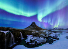 Canvas print  Northern lights over the mountain Kirkjufell