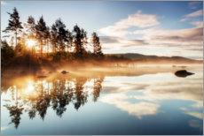 Acrylic print  Misty morning at Storsjoen lake, Norway - Rafal Kaniszewski