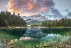 Premium poster  Sunrise at the Eibsee with Zugspitze - Dieter Meyrl
