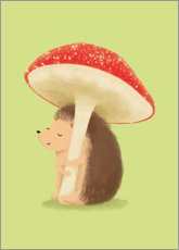 Premium poster  Hedgehog with mushroom - Sandy Lohß