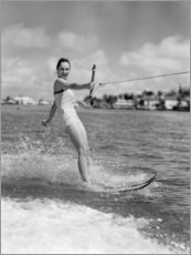 Aluminium print  Water skiing in the 50s