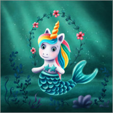 Canvas print  Little mermaid unicorn - Elena Schweitzer
